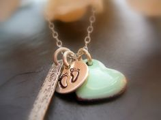 Baby Boy Charm Necklace Push Present  Rustic by NatsukoJewelry, $60.00