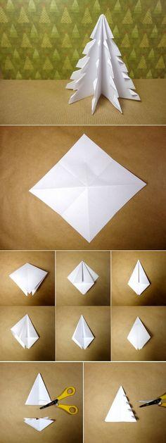 Vídeo tutorial árbol de Navidad 3D de papel: http://www.tuteate.com/2013/12/02/prepara-un-arbol-de-navidad-con-un-cuadrado-de-papel/