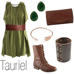 """Tauriel"" by ja-vy on Polyvore. Umm Tauriel isn't my favourite character but I want all these really badly."
