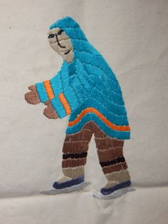 Inuit Eskimo Art Tapestry Wallhanging, 24x24, 92, Mary Tookloomik, Goja Haven COA card