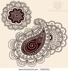 flower-and-leaves-paisley-pattern-tattoo-design.jpg (450×470)