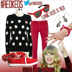 Polyvore | Red Keds outfit, Red shoes outfit.