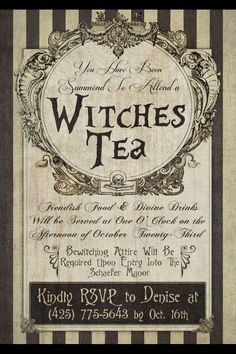 Witches Tea Invitation Love this idea of a witches tea around Halloween. Witches Tea Invitation Love this idea of a witches tea around Halloween. Retro Halloween, Halloween Labels, Halloween Invitations, Holidays Halloween, Halloween Crafts, Happy Halloween, Halloween Decorations, Halloween Party, Halloween Witches
