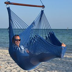 Jumbo Caribbean Hammock Chair with Footrest  55 inch  SoftSpun Polyester  Dark Blue *** This is an Amazon Associate's Pin. View the item in details on Amazon website by clicking the image