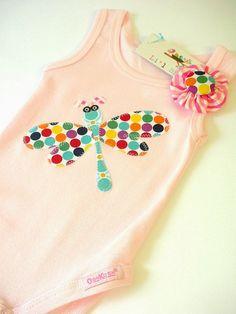 Baby Onesie Jumpsuit Bodysuit Dragonfly Design by LilBirdieShop