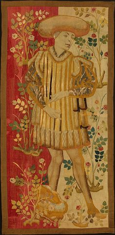 Figures in a Rose Garden  Date: ca. 1450–55 Culture: South Netherlandish, Wool warp, wool, silk, and metallic weft yarns