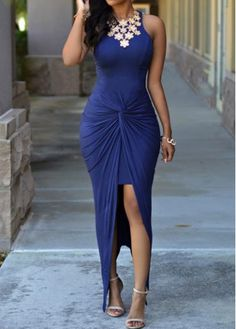 Front Slit Navy Blue Sleeveless Maxi Dress with cheap wholesale price, buy Front Slit Navy Blue Sleeveless Maxi Dress at Rotita.com !