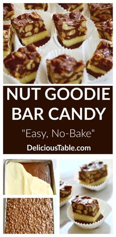 Nut Goodie Bar Candy is an addictively sweet chocolate peanut butter candy bar f., Nut Goodie Bar Candy is an addictively sweet chocolate peanut butter candy bar f. Nut Recipes, Caramel Recipes, Fudge Recipes, Healthy Dessert Recipes, Candy Recipes, Cookie Recipes, Sweet Recipes, Holiday Baking, Christmas Baking