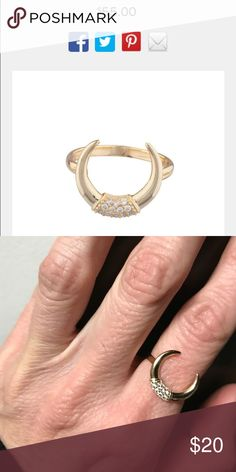 Shashi ring sz 6 This is a cool and delicate horn pave ring, by SHASHI, 18k gold plated with cz's. size 6 Jewelry Rings