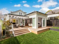 Pergola With Metal Roof Weatherboard House, Patio Deck Designs, Bungalow Renovation, Dream Beach Houses, Facade House, House Facades, Hamptons House, New Home Designs, Home Reno