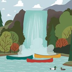 We're Going Canoeing - Waterfall - Finding a hidden gem in the back corners of the wilderness is what exploring the out outdoors is all about. Canoeing road trip wall art. #canoeingroadtrips #weregoingcanoeing #letsgocanoeingnow #letsgocanoeingtoday #Iwishiwascanoeing #canoeingaddiction #canoeingadventure #Canoeinglifeforme #canoeingart #canoeingartwork