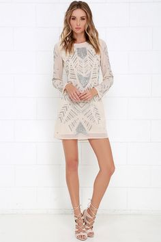 Holiday party perhaps? Glamorous Teatro Light Beige Beaded Dress at Lulus.com!