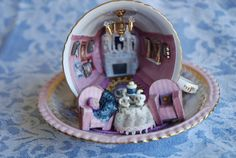 miniature room inside a teacup by TinyT42