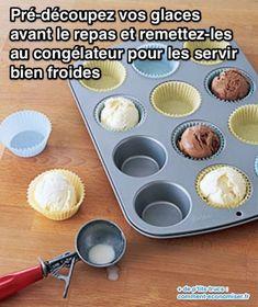 Le problème de la glace, c'est que quand on la sort pour le dessert, elle est trop froide pour qu'on la découpe.  Découvrez l'astuce ici : http://www.comment-economiser.fr/glace-impossible-decouper-astuce-qui-marche.html?utm_content=buffer680b9&utm_medium=social&utm_source=pinterest.com&utm_campaign=buffer