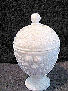 Avon Vintage White Milk Glass Candle Dish - just bought this at a thrift store :)