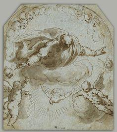 Jacopo Palma il Vecchio - Dio Padre con la Colomba, due putti e un nimbo di Cherubini - 1595-1605 - Penna, inchiostro e acquerello su carta vergata montati su carta vergata - Museum of Fine Arts, Houston