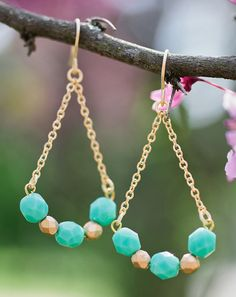 lovely opaque turquoise and gold nugget czech glass beads