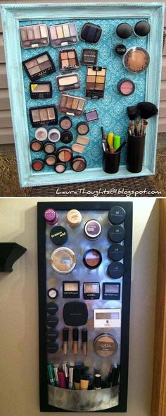 DIY magnet make-up board from an old picture frame.
