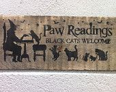 Halloween sign paw readings sign black cat sign primitive wood sign halloween decoration  $16.50