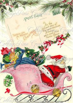 Vintage PINK Santa Sleigh CHRISTMAS  shabby by CottageRoseGraphics, $3.75