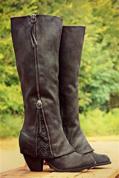 New Women Black Round Toe Chunky Lace Stitching Zipper Casual Mid-Calf Boots. I really like the lace detail at the bottom, although I would prefer a lower heel. Dr Shoes, Crazy Shoes, Me Too Shoes, High Heel Boots, Heeled Boots, Bootie Boots, High Heels, Black Riding Boots, Black Boots
