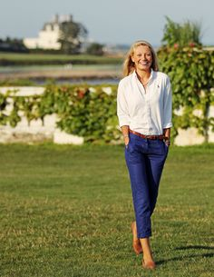 White Ralph Lauren blouse and royal blue dress pants