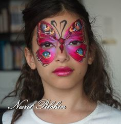 Red Butterfly face painting by Nurit pilchin Face Painting Flowers, Butterfly Face Paint, Butterfly Makeup, Butterfly Fairy, Face Painting Designs, Love Painting, Painting For Kids, Rainbow Butterfly, Paint Designs