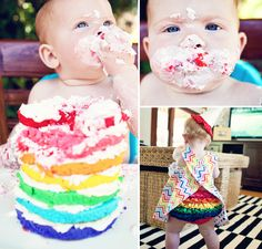 Rainbow smash cake