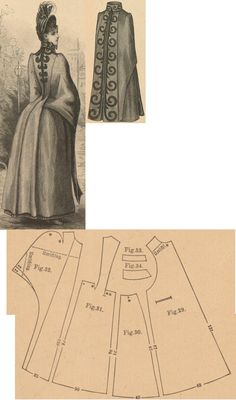 Der Bazar 1888: Brown woollen travelling cape; 29. front part, 30. side gore, 31. back part in half size, 32. pelerine-sleeve, 33. and 34. cuff and collar in half sizes