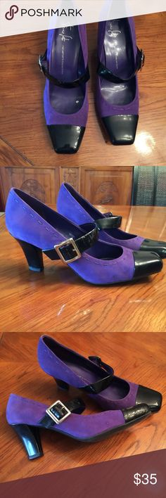 Franco Sarto pump Purple suede with black patent toe and strap, 2 inch heel, good condition, purchased from Nordstrom, size 12M Franco Sarto Shoes Heels