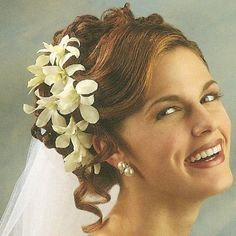 wedding hair with flowers and veil - Google Search