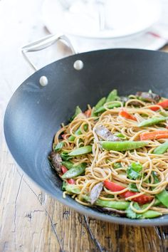 A super-yummy stir fry with peanut sauce that you can throw together in under 15 minutes.
