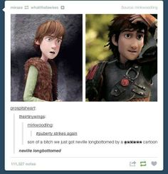 Everything about this makes me LOL. Hiccup + puberty = neville longbottomed