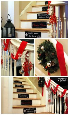 30 beautiful christmas decorations that turn your staircase into a fairy tale - Christmas Decorations Stairs Pinterest