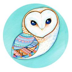 Tribal Pattern Barn Owl Pocket Mirror - Bird Theme Accessory - Teal Turquoise and White via Etsy