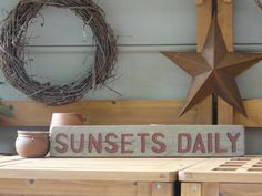 SUNSETS DAILY Sign - Lake House Decor - Beach Decor - Garden Decor - Primitive Sign - Rustic Country Wall Hanging on Etsy, $23.00