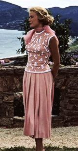 Grace wearing the picnic scene dress in To Catch a Thief. This dress is on display in the Montreal Grace Kelly exhibit of 2013