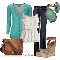 love it all. lace ruffle cami with turquoise. great jean paired with tory burch wedge!