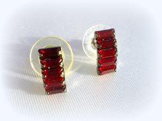 Vintage Red Stud Earrngs..Red Studs..Dark Red Earrings..Red Earrings..Red Crystal Earrings..January Birthstone Earrings..80's New Old Stock by VintageTrinkets4u
