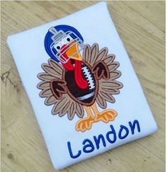 StitchonTime 51 Thanksgiving : American Football Turkey Applique 4 inches