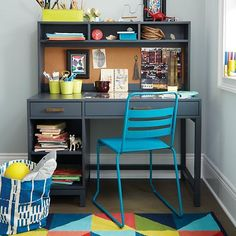 Homeroom Metal Desk Chair (Teal) | A simple design, sturdy steel construction and five easy-to-coordinate colors make this chair a great fit for any room in your home. Got it? Class dismissed.