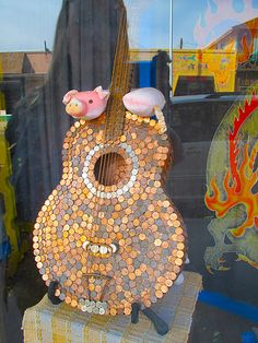 Guitar made of coins