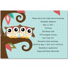 owl themed twin baby shower invitations