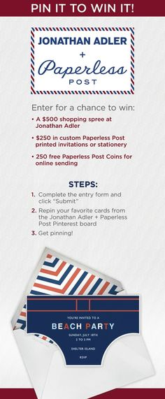Jonathan Adler + Paperless Post Pin It to Win It Contest