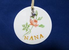 Handmade Ornament Gift Tag NaNa Gift Round by PorcelainChinaArt