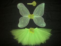 Tinkerbell tutu costume with wings and headband custom made in your size up to a 4t via Etsy