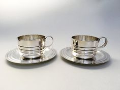2 French Silver Plate Cups and Saucers by ParisVintageGalerie
