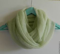 Купить Снуд вязаный из кид-мохера нежно-зеленый - снуд, снуд вязаный из мохера