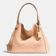 Embossed Horse and Carriage Edie Shoulder Bag in Pebble Leather