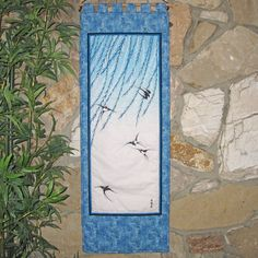 #Japanese Scroll Size Quilted Wall Hanging #Swallows and #Willows #tsubame by JapanesqueAccents